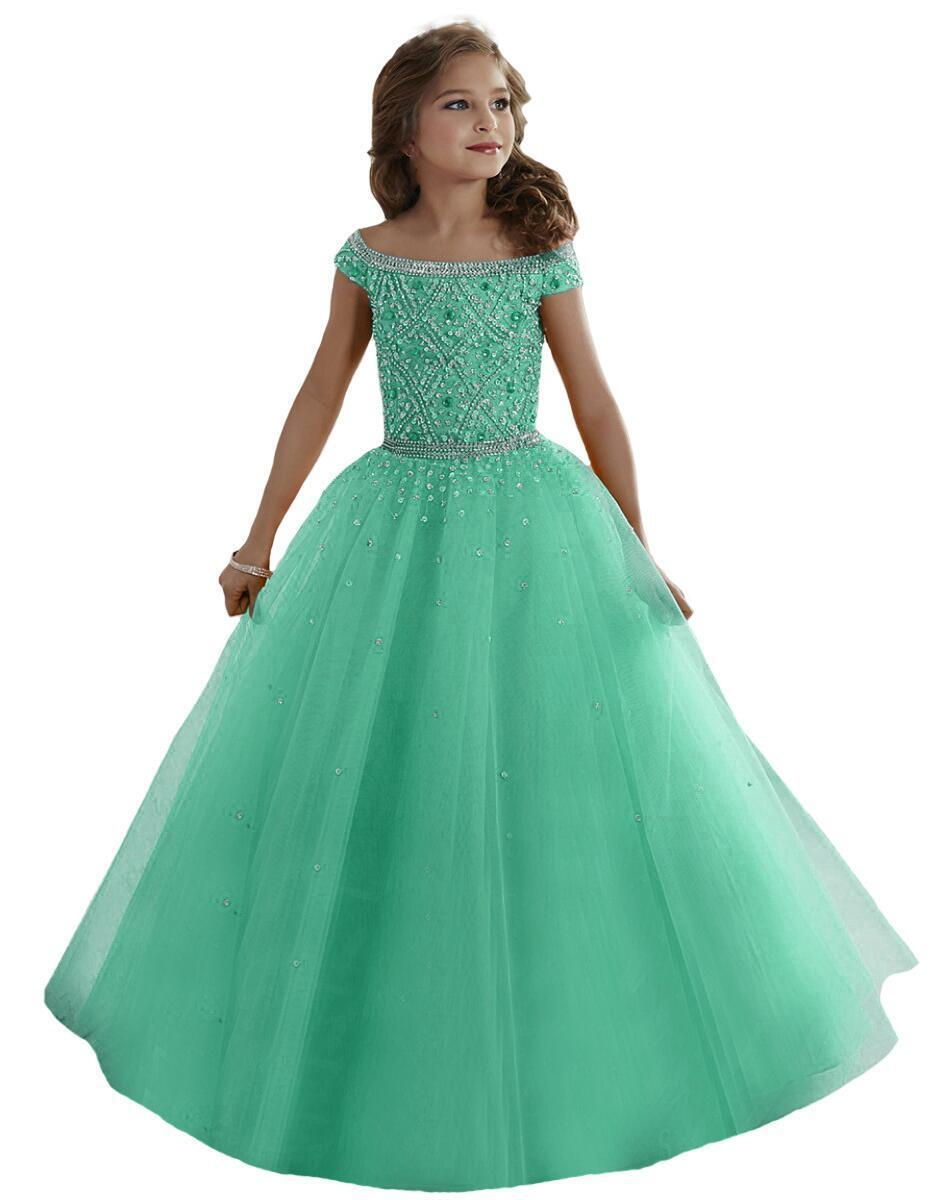 Tulle Beaded Crystal Ball Gown Mint Green Lace Flower Girl Dress ...
