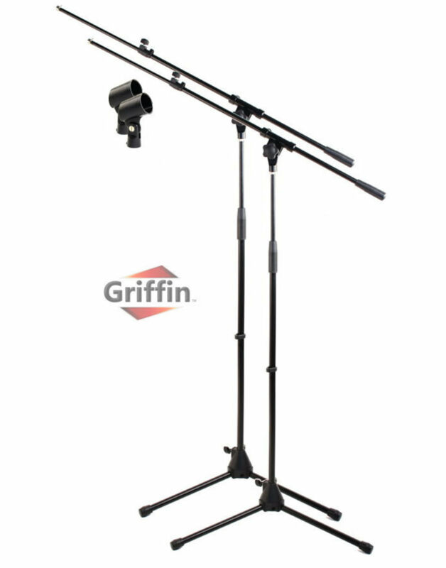 Tripod Microphone Boom Stand 2 Pack - Griffin Telescoping Mic Studio Arm Mount