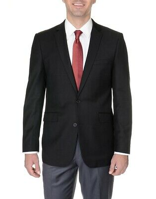 Mens Classic Fit Solid Black Two Button Suit Jacket Blazer - Mens Solid Black Suit
