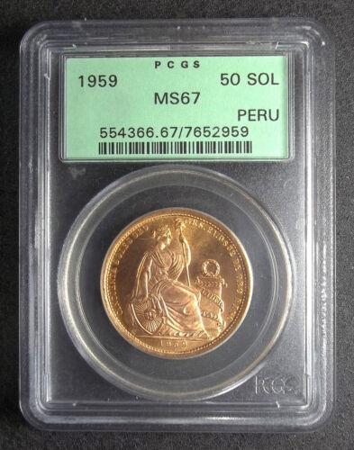 PERU - 1959 - 50 SOLES - PCGS MS67 - G50S - KM-230 - GOLD