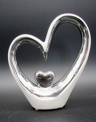 Herz Skulptur Figur Herz im Herz Weiß Silber 13,5 cm x 15 cm Hochzeit