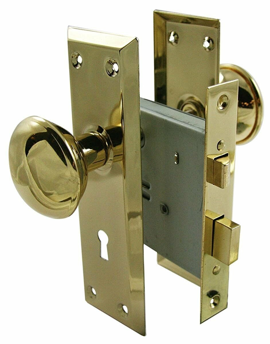 Купить Door Brass Locks Antique Vintage Hardware Set Knob Mortise 2-1/4 in Handle New
