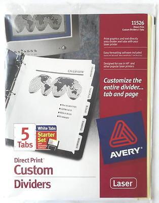 Avery 11526 Direct Print 5 Tabs Custom Laser Printer Dividers Starter Set ()