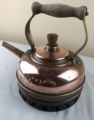 VINTAGE COPPER STOVE TOP KETTLE BRASS & WOOD HANDLE