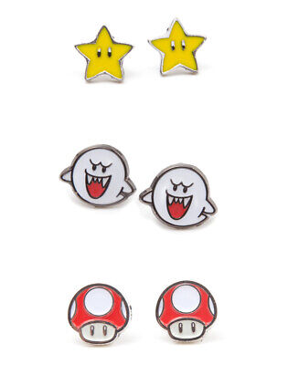 SUPER MARIO BROS - BOO, SUPER STAR & RED MUSHROOM SET OF 3 PAIR STUD EARRINGS ()