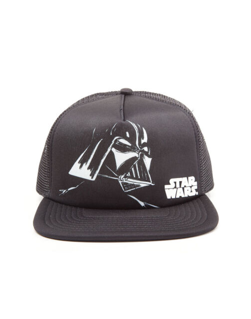 OFFICIAL STAR WARS DARTH VADER PRINT BLACK TRUCKER MESH SNAPBACK CAP *NEW*