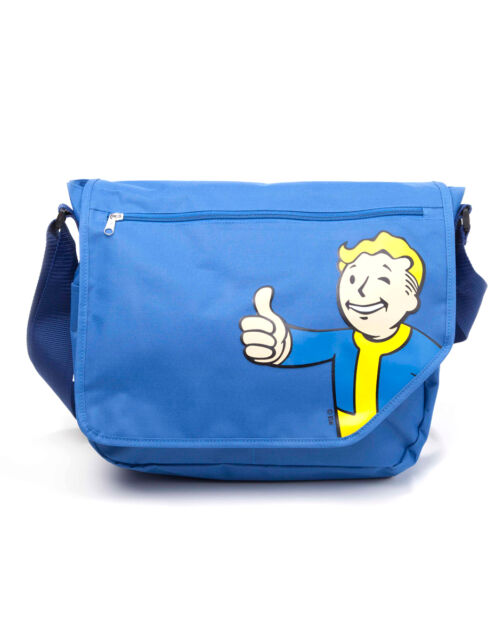 OFFICIAL FALLOUT 4 - VAULT BOY APPROVES IN VAULT-TEC BLUE MESSENGER BAG (NEW)