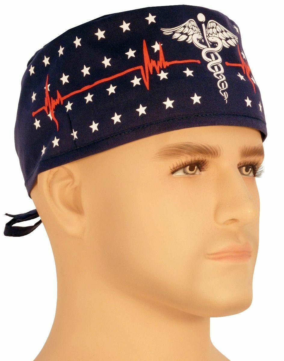 patriotic caduceus navy surgical sweatband scrub skull