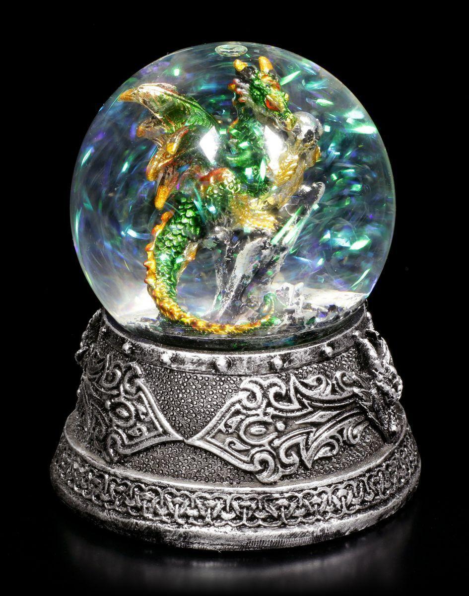 Schneekugel mit Drache - Enchanted Emerald - Fantasy Glitzerkugel Deko