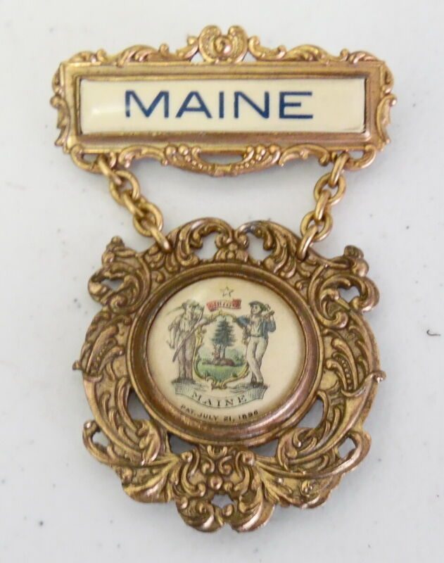 Antique 1896 Whitehead Hoag State of Maine Gold Filled Political Campaign Medal