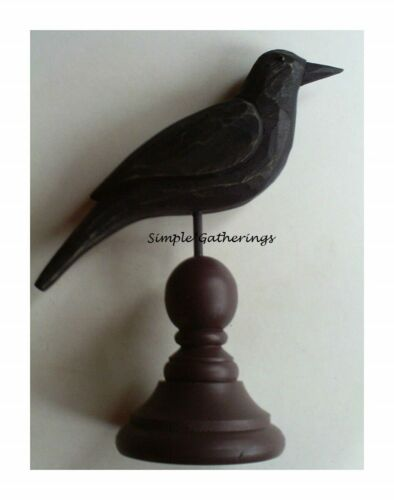"""NEW Primitive CROW WOOD On Pedestal Black Rustic Farmhouse 7.75"""" T Country Fall"""