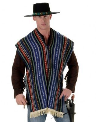 MEXICAN BANDITO ADULT MENS WESTERN COWBOYS COSTUME PONCHO SERAPE BLANET SHAWL (Mens Western Costumes)