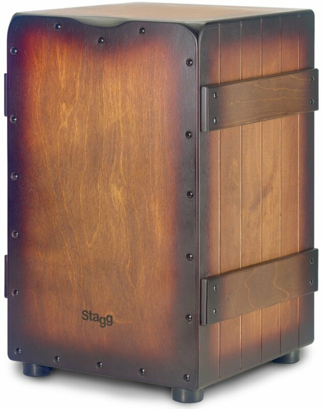 Stagg Crate Cajón with Sunburst Brown Finish - CAJ-CRATE-SBB