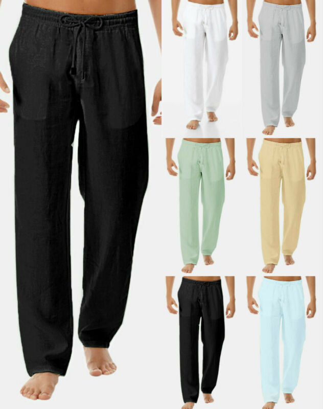 Men's Summer Drawstring Lightweight Pants Solid Cotton And L