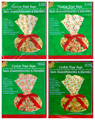 Cookie Tray Bags (Christmas Cellophane Cookie Tray Bags 3 Count 15.5