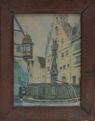 Rothenburg o.d.Tauber - St.Georgs-Brunnen , Aquarell, signiert O.Weber,