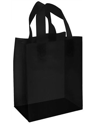 Plastic Shopping Bags Black Frosted Gift Merchandise Retail Store 8x5x10 Lot 25