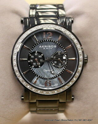 Men's Akribos XXIV AK465BK Swiss Day/Date Crystal Dial Stainless Steel Watch