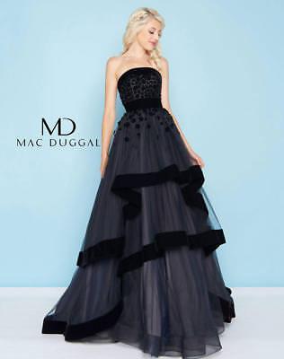 NEW MAC DUGGAL 66246H Black Velvet Trim Floral 3D Beaded Strapless Ball-Gown -