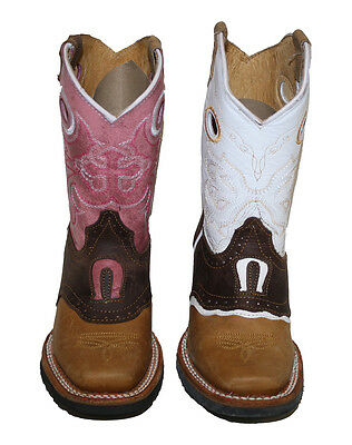 Unisex Kids Genuine Soft Cow Hide Leather western cowboy Boots New ~~ ()