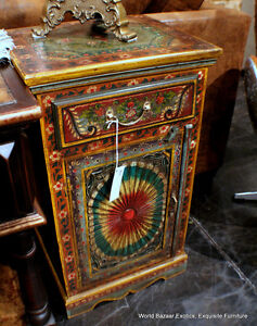 32-tall-cool-night-stand-side-table-red-green-Vintage-CARVED-1-door-1-drawer