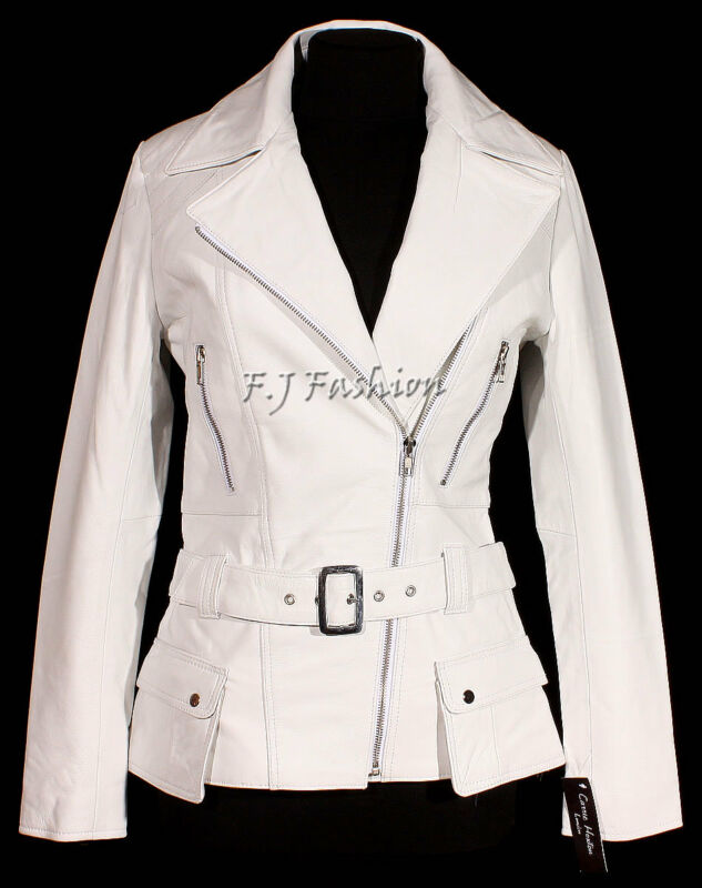 Diaz White Ladies Women/'s Stylish Retro Real Soft Sheep Nappa Leather Jacket