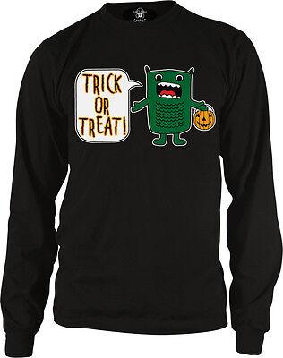 Trick Or Treat Green Monster Halloween Pumpkin Candy Cartoon Meme Men's Thermal (Cartoon Pumpkins Halloween)