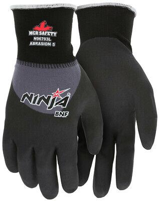 Mcr Safety Ninja Bnf Coated Nylonspandex Breathable Work Gloves Black