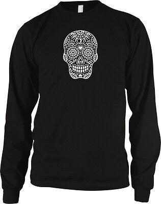 Skull Floral Sugar Outline Heart Dia De Los Muertos Day Dead Dots Men's Thermal