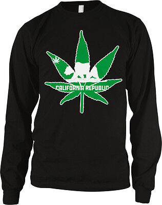 California Republic Pot Leaf Outline Weed 420 Ganja Toke Long Sleeve (Weed Leaf Outline)
