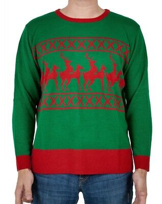 UGLY Christmas Holiday Sweater Funny REINDEER GAMES Green Adult Costume M L XL