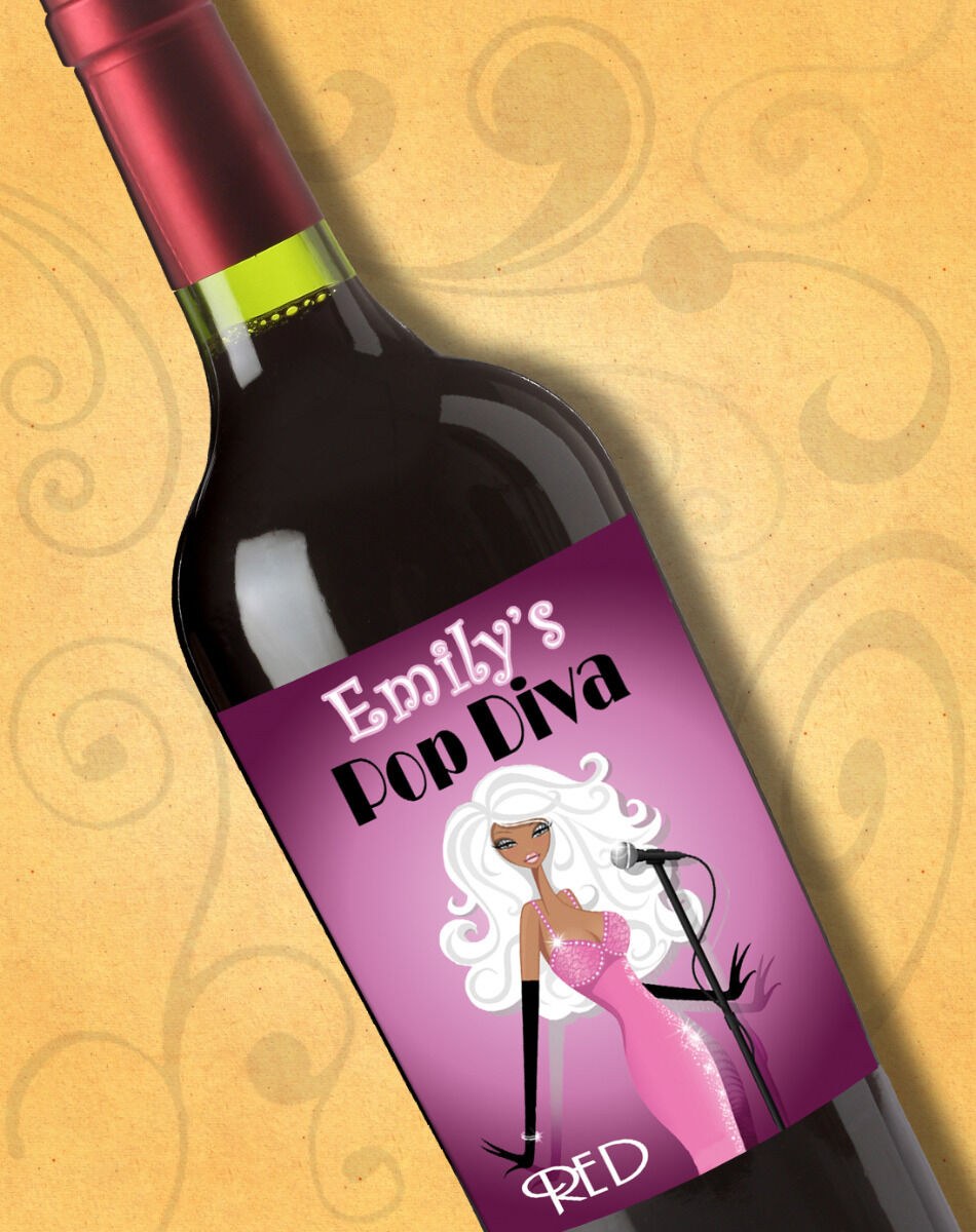 Personalized Bar & Bat Mitzvah Diva Music Theme Wine Labels