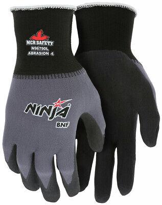 Mcr Safety Ninja Bnf Nitrile Coated Nylonspandex Work Gloves Black