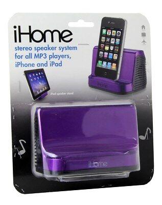 iHome iHM16U Portable Stereo Speaker System for iPads, iPods (Purple) *refurbish