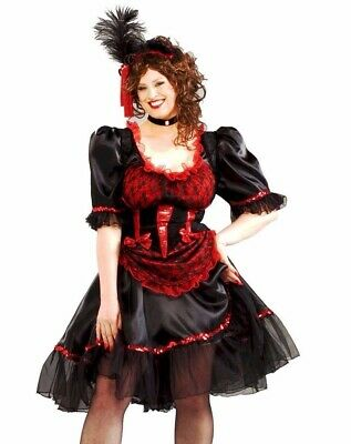Sexy Red Adult Saloon Girl Can Can Burlesque Western Costume Dress Plus Size XL ()