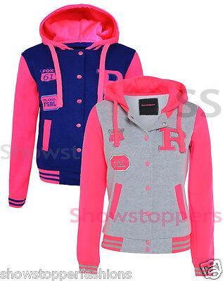 NEW GIRLS JACKET COAT BASEBALL HOODY  Girls CLOTHING AGE 7 8 9 10 11 12 13 PINK