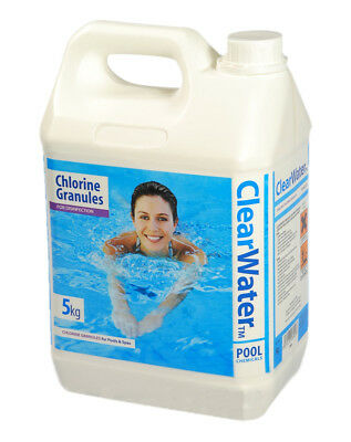 5KG CLEARWATER CHLORINE GRANULES FOR SPAS AND POOLS HOT TUB DISINFECTANT CH0004