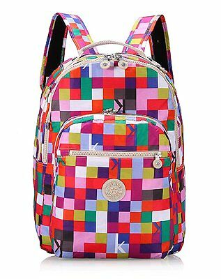 6DW Kipling Large Backpack bag With Laptop Protection Checkered Pattern