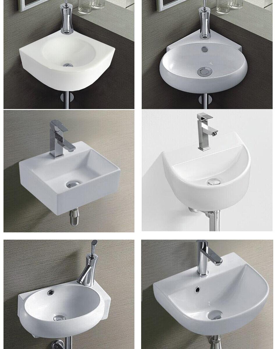 Waschbecken Eckwaschbecken Keramik oval eckig Wandmontage Wand klein halbkreis
