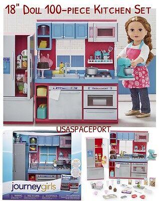 "Journey Girls 100-piece 18"" Doll KITCHEN +Refrigerator Set for American Girl Boy"
