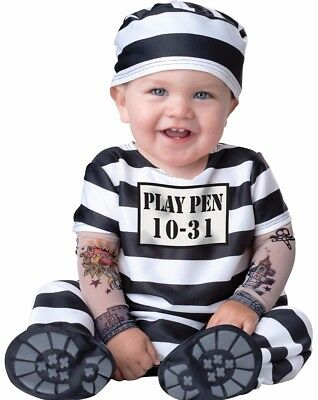 Time Out Convict Costume Prisoner Inmate Jail Tattoos Funny Baby Toddler - Toddler Inmate Costume