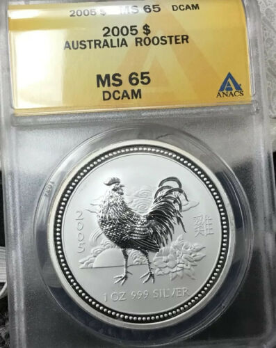 2005 Australia Silver Lunar Series I Year Of The Rooster 1 Oz 1 - BU MS65 DCAM - $65.00