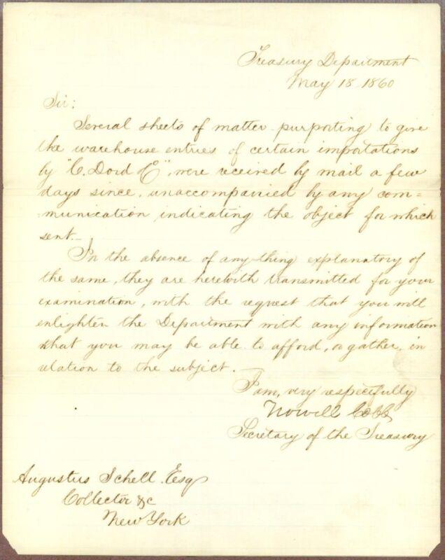 Howell Cobb, Politician, Confederate General, Autograph Letter Signed 1860, COA