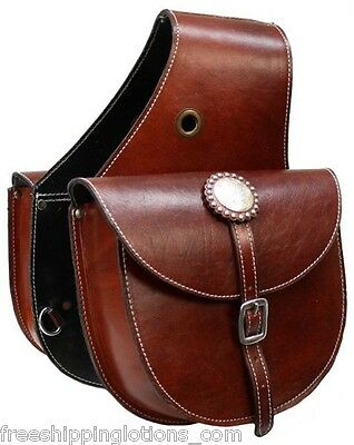 Showman MEDIUM OIL Top Grain Leather Western Saddle Bag! NEW HORSE TACK!