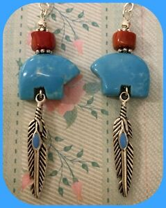 Zuni Bear Turquoise Howlite Native American Style Earrings