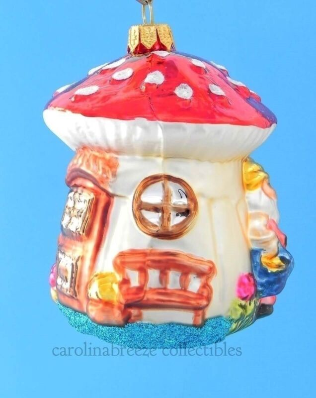 Two Elves At Their Mushroom House Blown Glass Christmas Ornament Koronex Poland