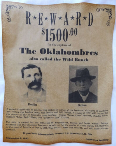 Oklahombres Gang Wanted Poster, Doolin-Dalton, Wild Bunch Old West, Outlaws Bill