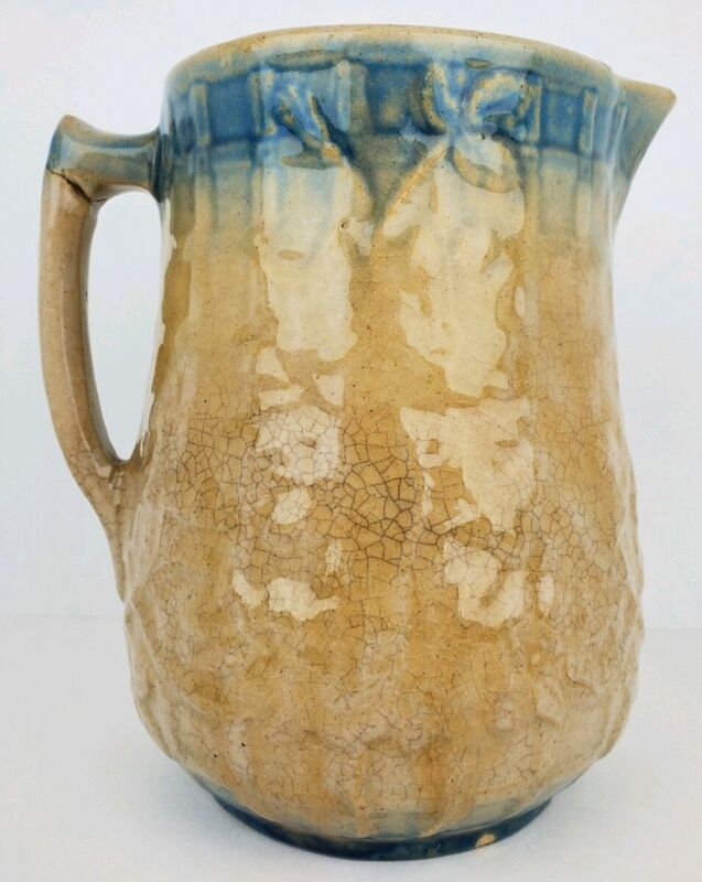 "Antique Salt Glazed Pottery Stoneware Pitcher Floral Pattern Blue Accents 8"""