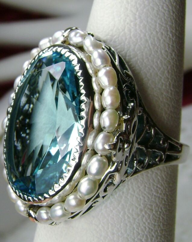 Sim Aquamarine Seed Pearl Sterling Silver Victorian Filigree Ring Made To Order