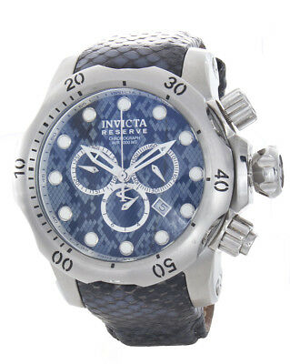 Invicta Men's Stainless Steel Blue & Grey Dial Lizard Leather Watch Band 18298